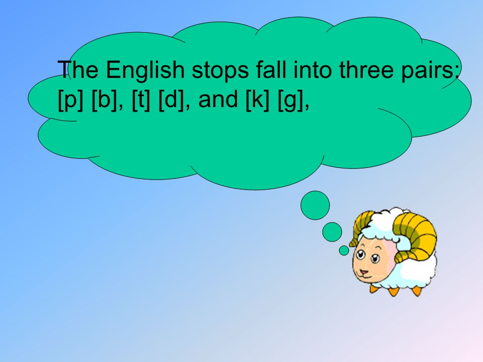 The English stops fall into three pairs: [p] [b], [t] [d], and [k] [g],